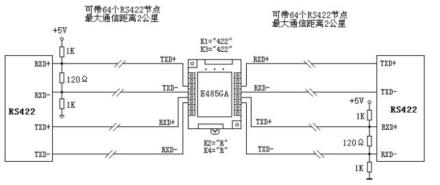 e485ga用作四 线全双工rs422中继器